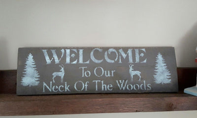 Welcome Deer Sign for Cabin Cabin Decor A Rustic Feeling