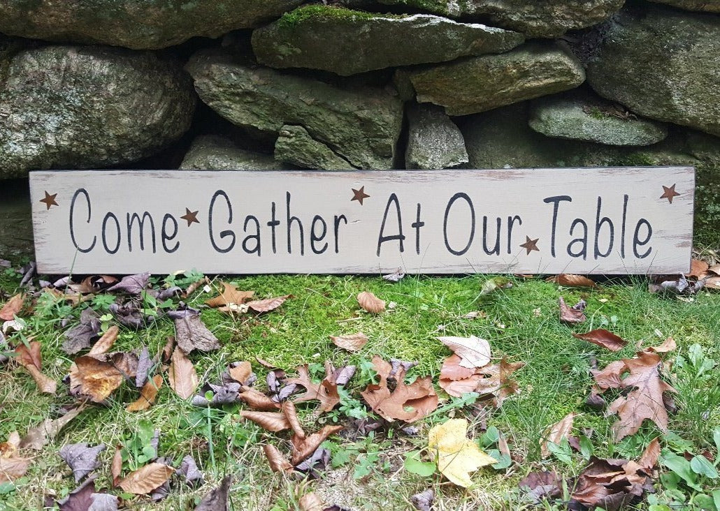 Thanksgiving Table Decor, Rustic Thanksgiving Sign, Rustic Thanksgiving Decor, Farmhouse Thanksgiving, Gather At Our Table, Family Gather