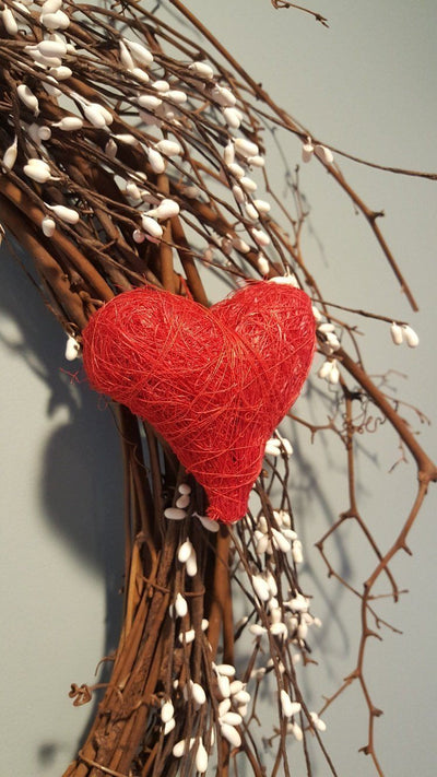 Red Heart for Valentine Day Decor, Valentine Wreath