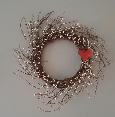 Valentines Day Heart Wreath for Front Door
