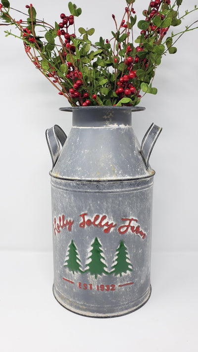Holly Jolly Farm Milk Can