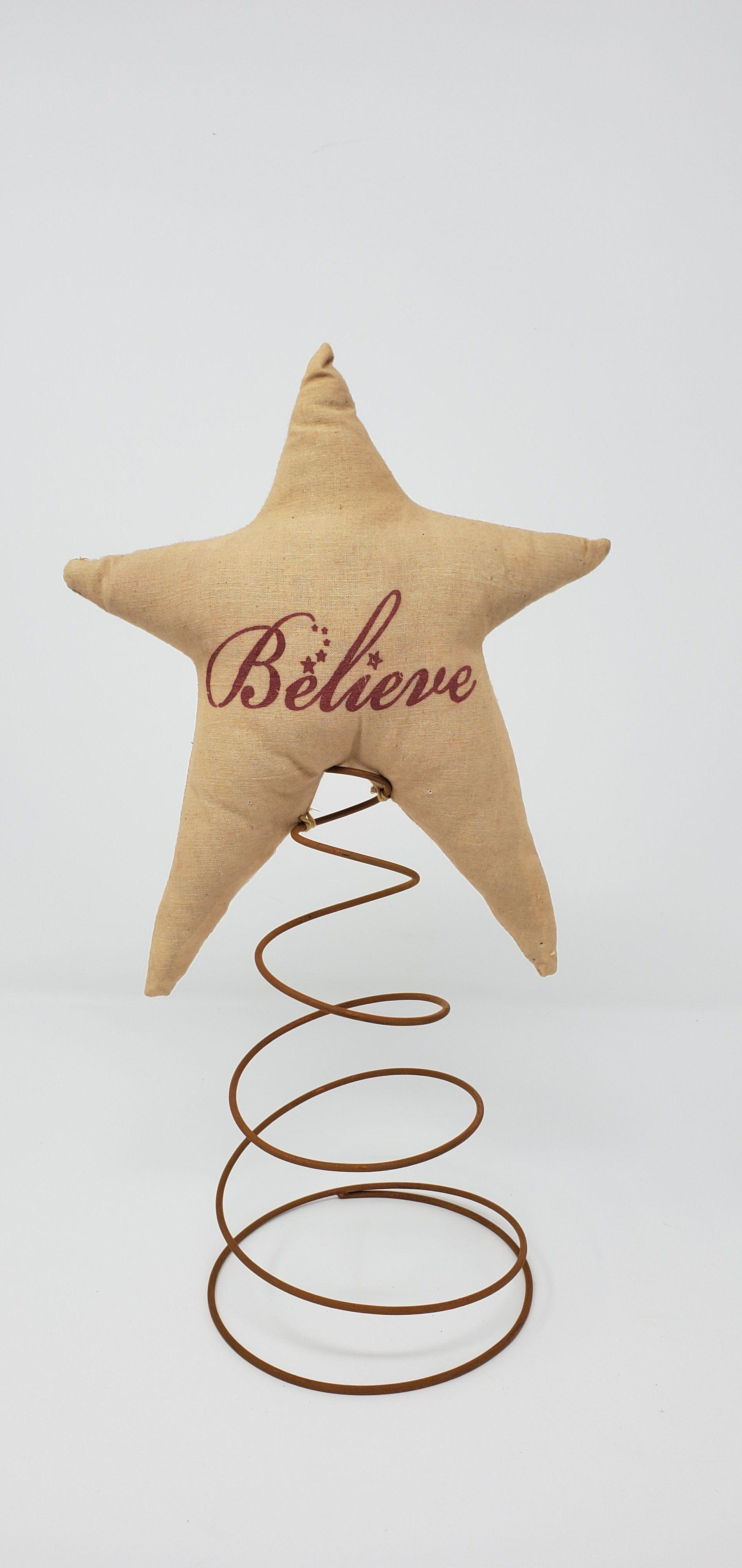 Fabric Star Believe Tree Topper