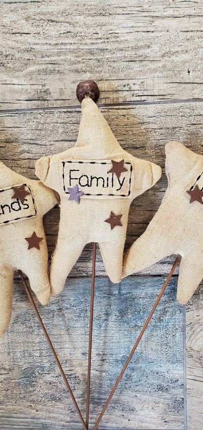 Faith Family Friends Fabric Star Stakes (Set of 3) Primitive Decor A Rustic Feeling