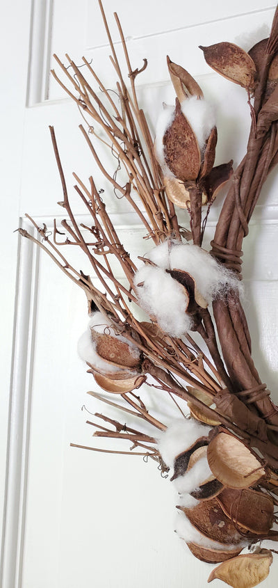 Cotton and Twig Farmhouse Wreath Farmhouse Decor A Rustic Feeling