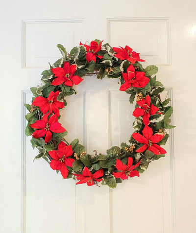 Holiday Wreaths for your Front Door, A Rustic Feeling, Poinsettia and Holly Christmas Wreath, Christmas Front Porch