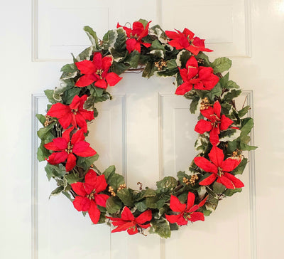 Holiday Wreaths for your Front Door A Rustic Feeling, Poinsettia and Holly Christmas Wreath, Christmas Front Porch