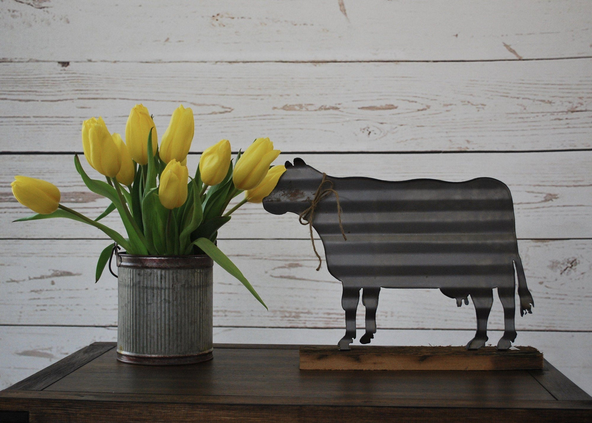 Farmhouse Corrugated Metal Cow Sign