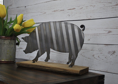 Corrugated Metal Pig Sign Farmhouse Decor A Rustic Feeling