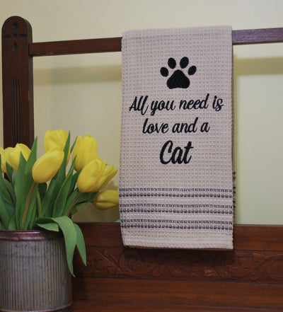 All You Need Is Love and A Cat Kitchen Towel