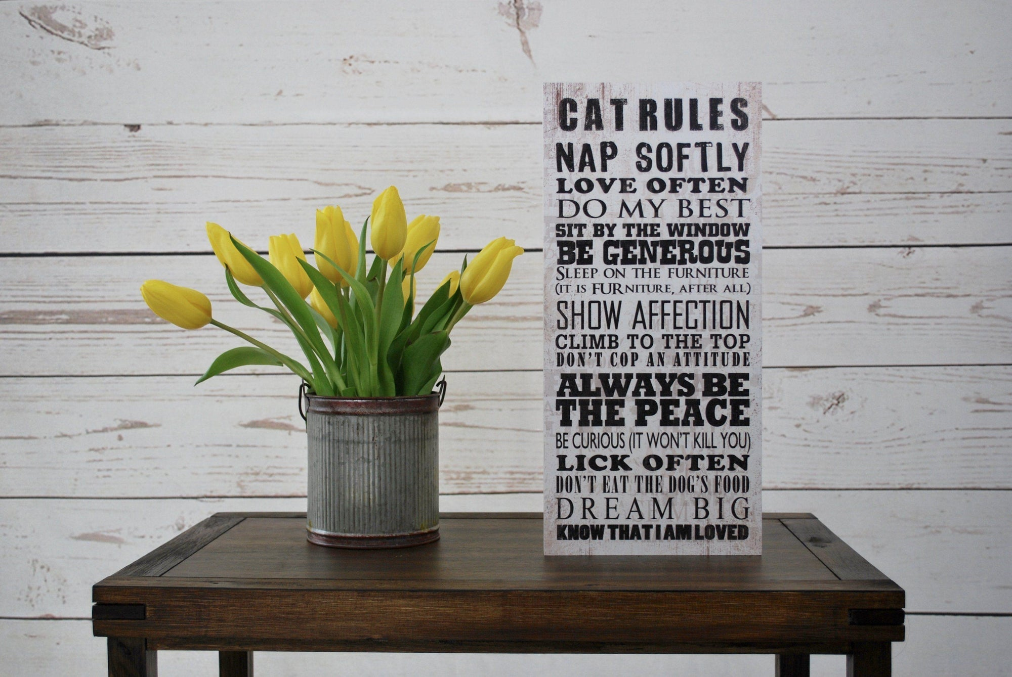 Cat Rules Rustic Sign