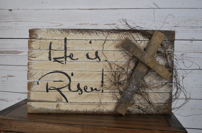 He is Risen Sign, Easter Sign, Easter Decorations, Religious Easter Sign