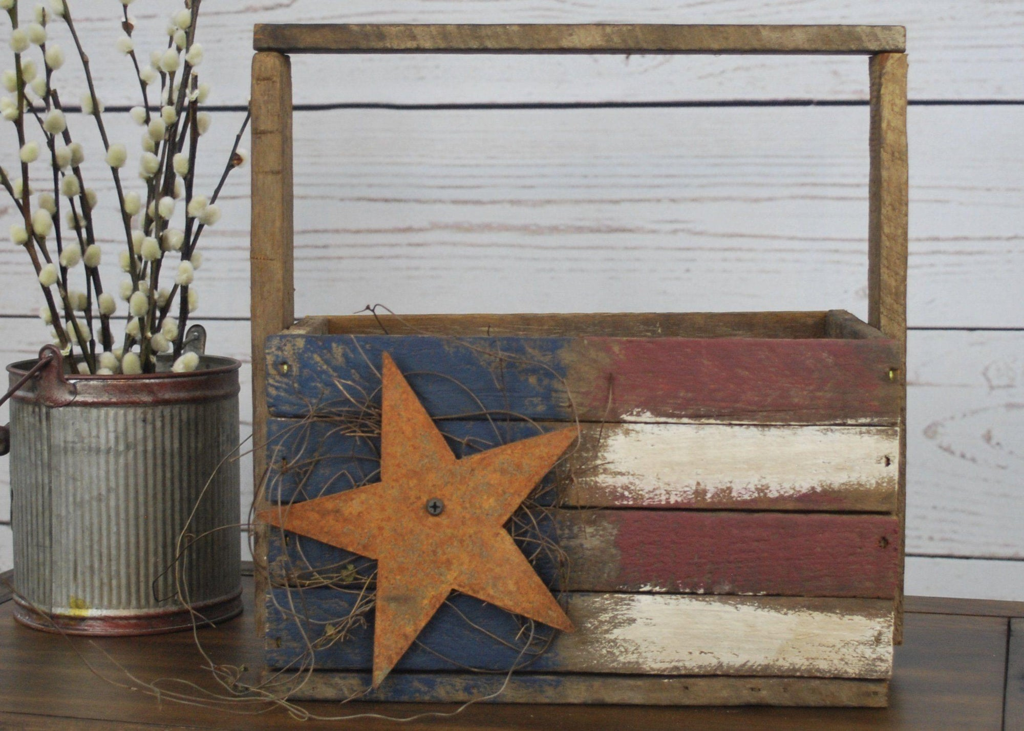 American Flag Wooden Tote, Americana Decor, Patriotic Gifts, Primitive Wooden Box