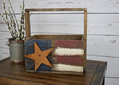 Wood Tote, Rustic Wood Box, Primitive Wood Box, America Flag, American Flag Decor, Garden Tote, Wood Caddy