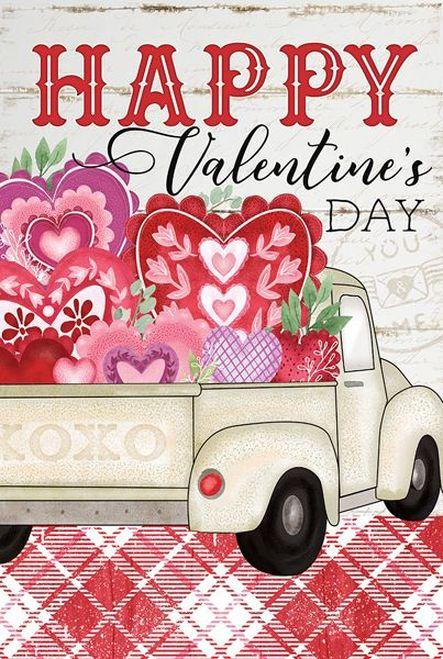 Valentine's Day Sign with a Vintage Truck and Hearts Valentine Decor A Rustic Feeling