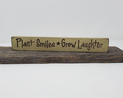 Plant Smiles Grow Laughter Engraved Wood Sign Garden Decor A Rustic Feeling