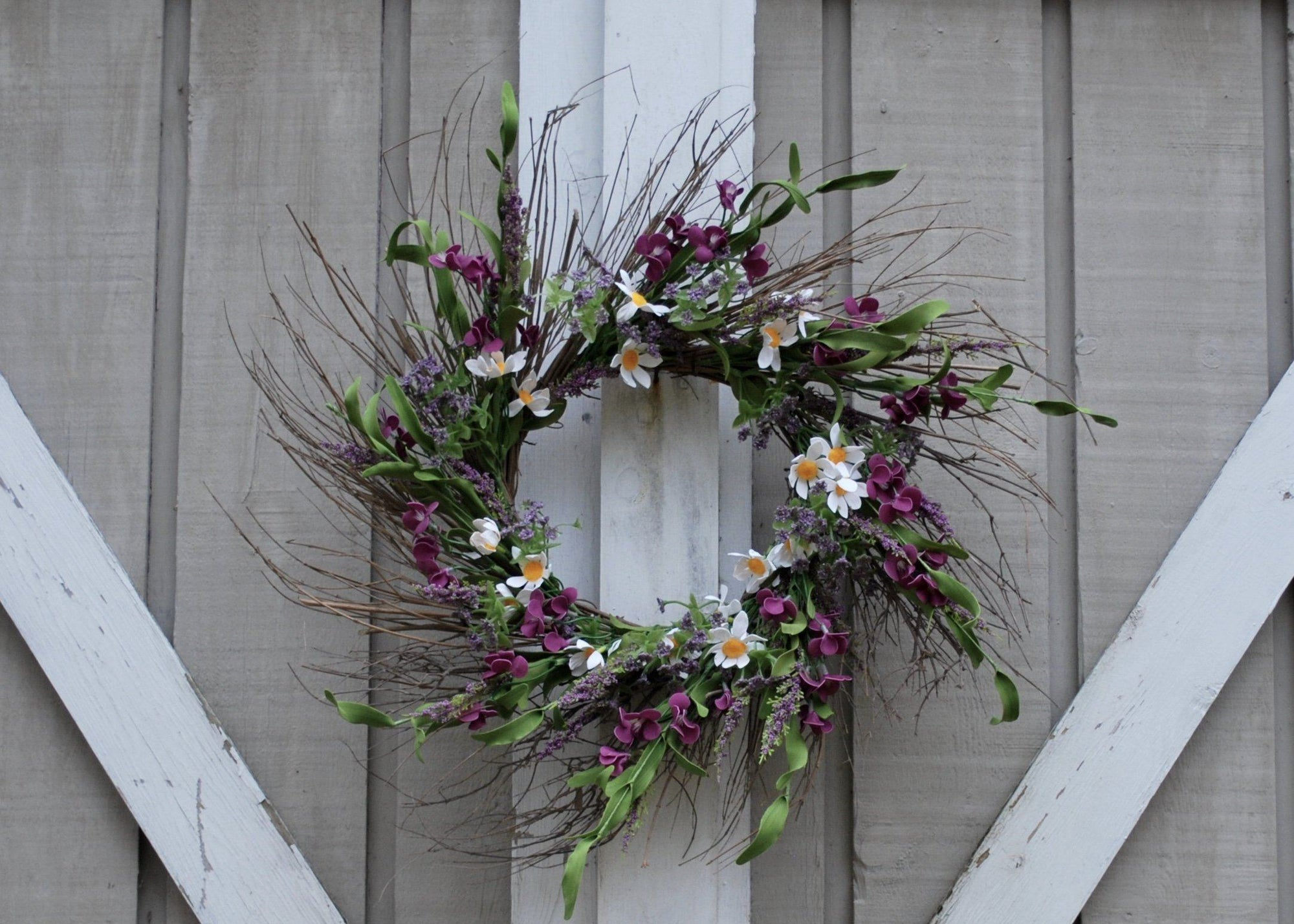 Twig Wreath for Front Door,  Floral Wreath, Purple and White Flower Wreath, Twig Spring Wreath