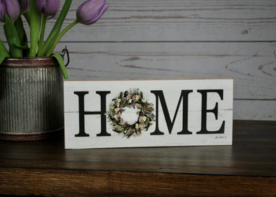 Home Sign with Wreath Farmhouse Decor A Rustic Feeling