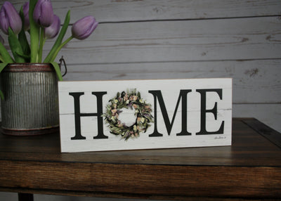 Home Sign with A Wreath, Home Sign, Mom Gift, Mothers Day Gift, Farmhouse Decor, Farmhouse Sign, Country Home Decor