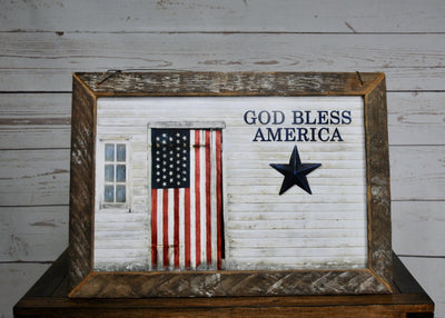 God Bless America Patriotic Rustic Sign Americana A Rustic Feeling