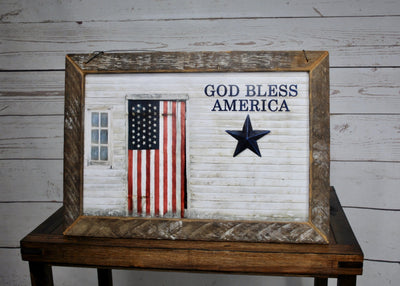 Fourth of July, 4th of July Decor, Barn with American Flag Wall Art, God Bless America, American Flag sign