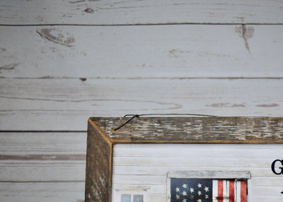 Fourth of July Decor, 4th of July Decor, Barn with American Flag Wall Art, God Bless America, American Flag sign