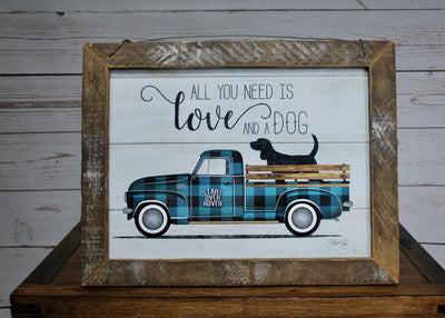 Rustic Truck and Dog Framed Sign
