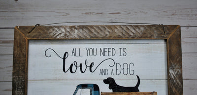 Rustic Truck and Dog Framed Sign Farmhouse Decor A Rustic Feeling
