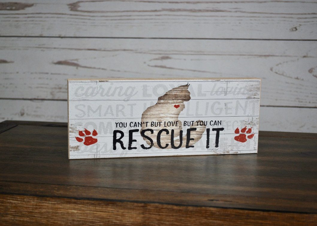 Animal Rescue Rustic Shelf Sign, Animal Rescuer Gift, Animal Lover Gift,  Adopt a Dog, Adopt A Cat, Adopt a Pet, Pet Adoption Sign