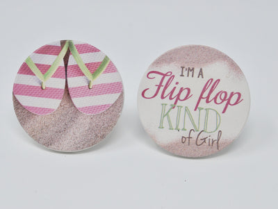 Car Coasters, Sweet 16 Gift Idea, New Driver Gift Idea, Beach Car Coasters, Flip Flop Car Coasters