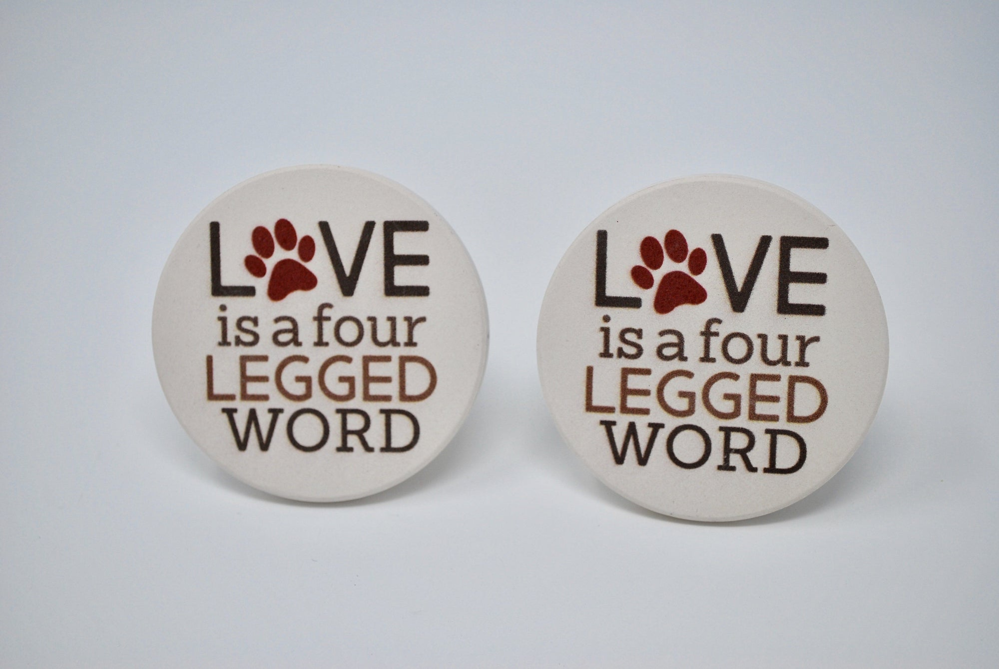 Pet Lover Gift, Paw Print Car Coasters, Absorbent Car Coasters, Love is a Four Legged Word, Pet Lover, Dog Mom, Dog Dad, Cat Lover, Paw print Coasters