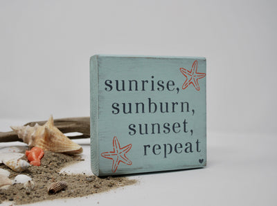 Beach Decor, Beach Signs, Beach house Decor, Lake House Signs, Beach House Welcome Sign, Sunrise Sunburn Sunset Repeat, Starfish Decor