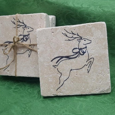 Christmas Coasters, Christmas Gifts, Reindeer Decor Holiday Decor A Rustic Feeling