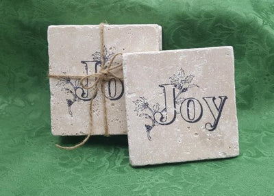 Holiday Gifts, Christmas Coasters, Stone Coasters, Coasters Holiday Decor A Rustic Feeling