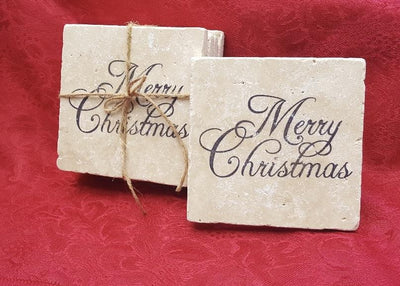 Christmas Coasters, Christmas Gifts, Merry Christmas Holiday Decor A Rustic Feeling