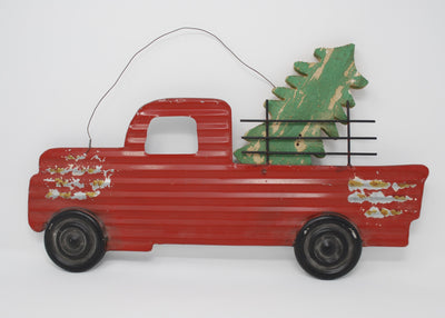 Corrugated Red Rustic Truck Sign Holiday Decor A Rustic Feeling