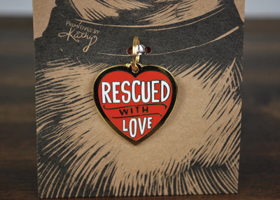 Rescued with Love Pet Collar Charm Pet Decor A Rustic Feeling