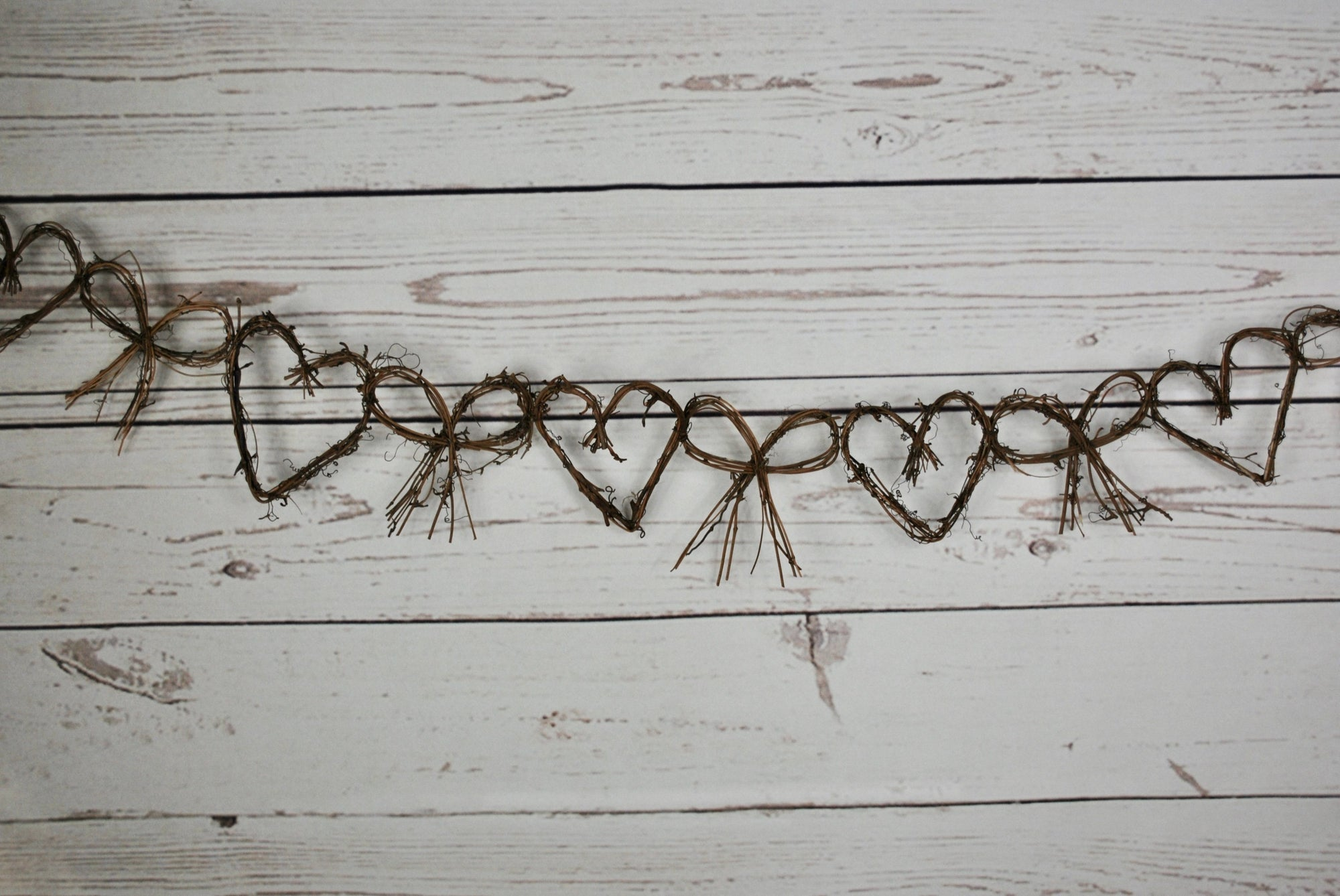 Rustic Farmhouse Heart and Bow Garland