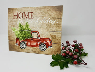 Red Rustic Truck Christmas Decor