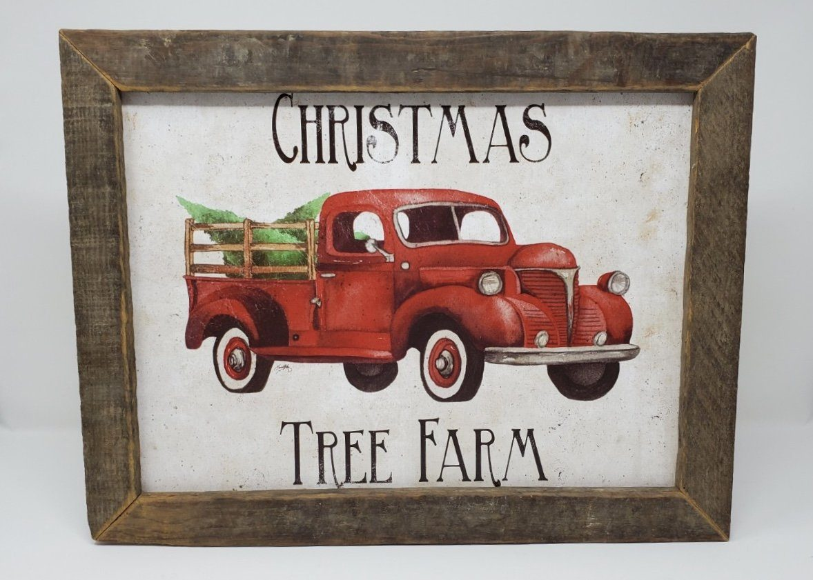 Red Rustic Truck, Vintage Truck Sign, Red Truck Decor, Christmas Tree Sign, Christmas Tree Decor, Holiday Decor