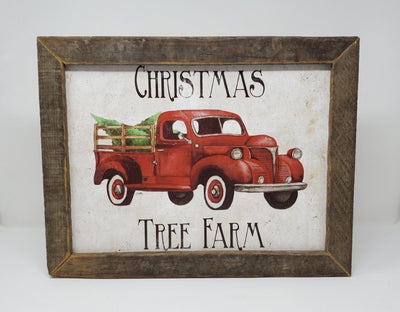 Red Rustic Vintage Truck with Christmas Trees Holiday Decor A Rustic Feeling