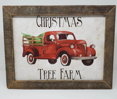 Red Rustic Vintage Truck with Christmas Trees