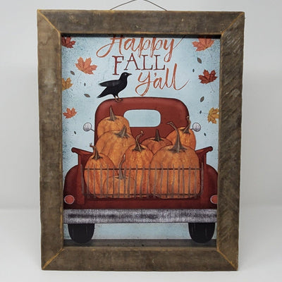 Red Rustic Truck Fall Decor, Fall Decorations, Vintage Truck, Pumpkin Decor, Happy Fall Y'all, Farmhouse Signs, Farmhouse Halloween, Barnwood Frame
