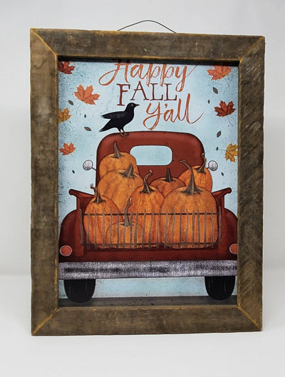 Rustic Truck Happy Fall Y'all Farmhouse Sign Fall Decor A Rustic Feeling