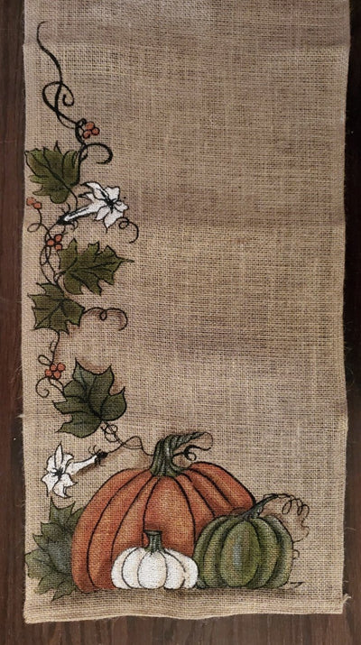 Thanksgiving Table Runner made with Burlap and Painted Pumpkins Fall Decor A Rustic Feeling