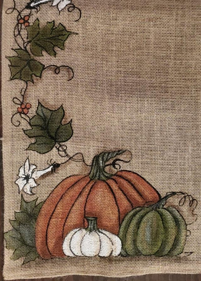 Thanksgiving Table Runner made with Burlap and Painted Pumpkins