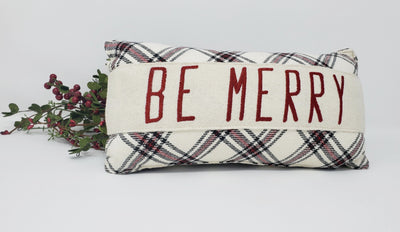 Be Merry Pillow Seasonal A Rustic Feeling
