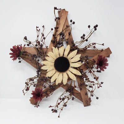 Primitive Wood Lathe Star with Sunflowers Primitive Decor A Rustic Feeling