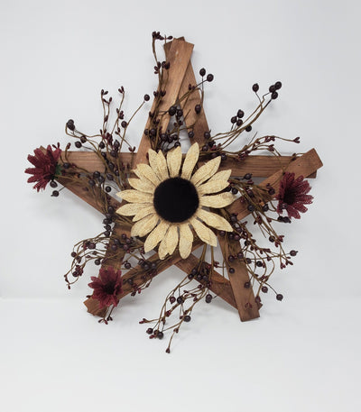 Primitive Wood Lathe Star with Sunflowers