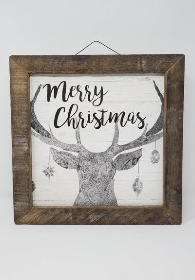 Merry Christmas Deer with Ornaments Cabin Decor