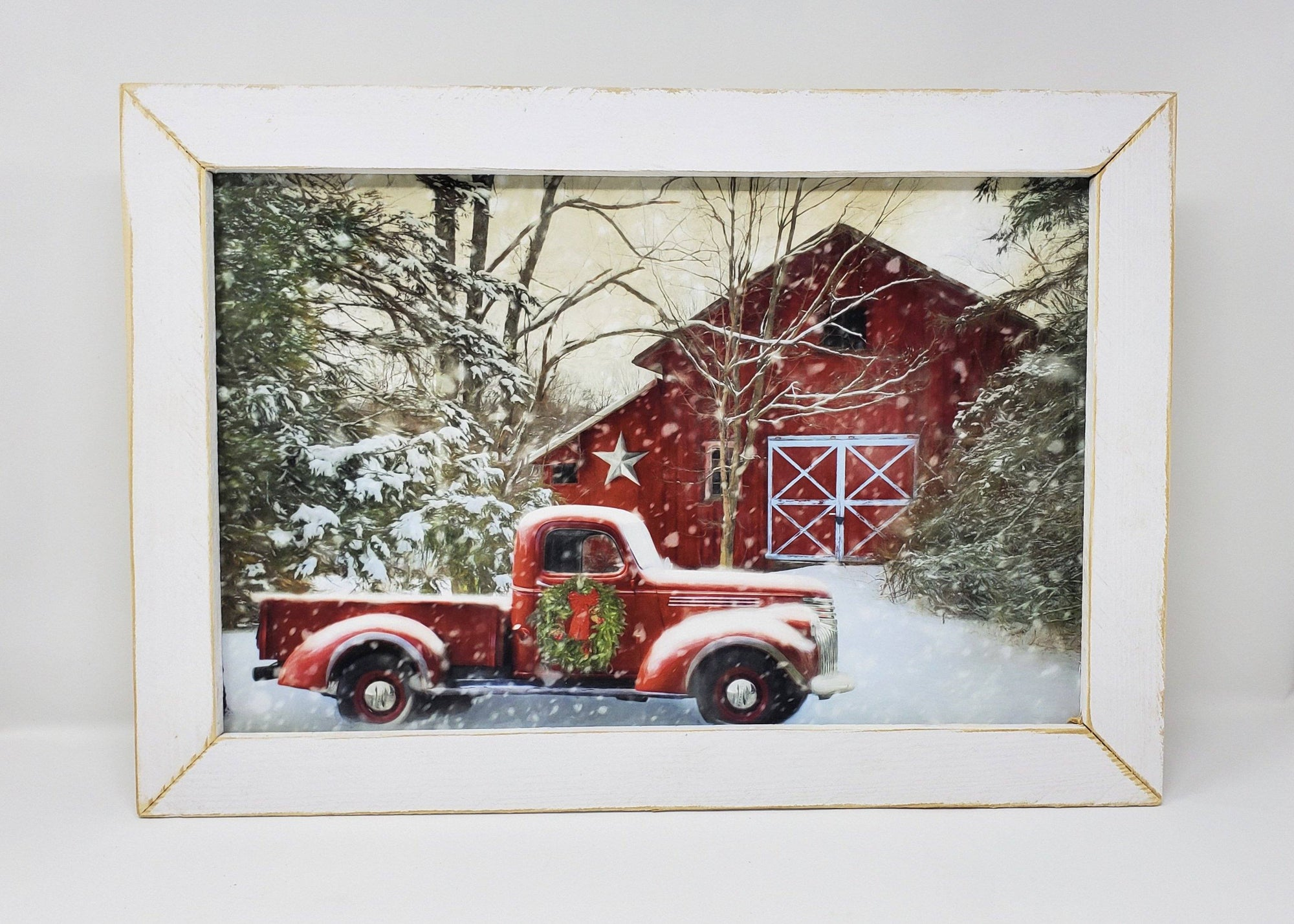 Red Truck White Barn Winter Print Holiday Decor A Rustic Feeling